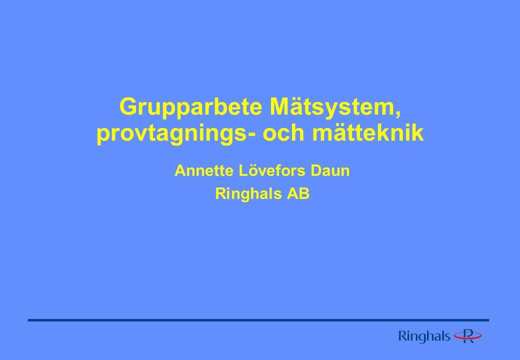 Grupparbete Mätsystem, provtagnings- och mätteknik Annette Lövefors Daun Ringhals AB