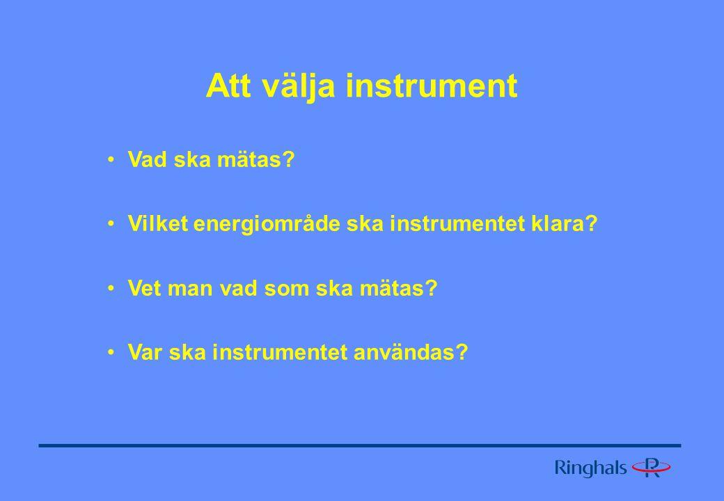 Att välja instrument Vad ska mätas.Vilket energiområde ska instrumentet klara.