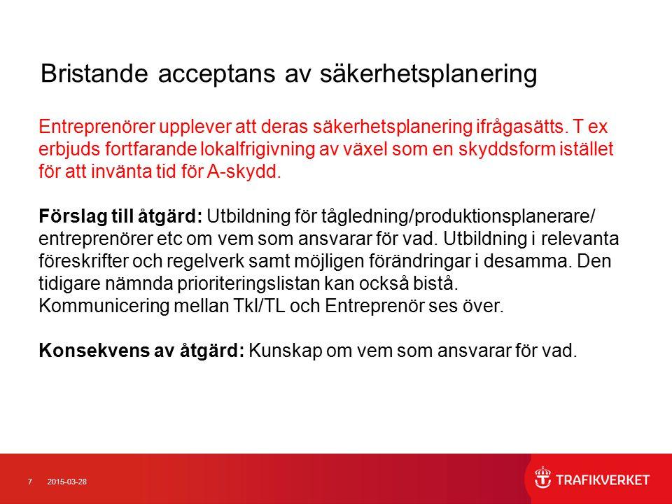 72015-03-28 Bristande acceptans av säkerhetsplanering Entreprenörer upplever att deras säkerhetsplanering ifrågasätts.