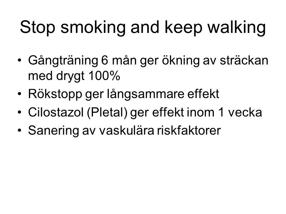 3 gånger per vecka Minst 30 min Minst 6 mån Bättre om det sker övervakat Raska promenader bättre än kombinerad träning