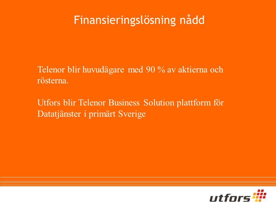 Finansieringslösning nådd Telenor blir huvudägare med 90 % av aktierna och rösterna.