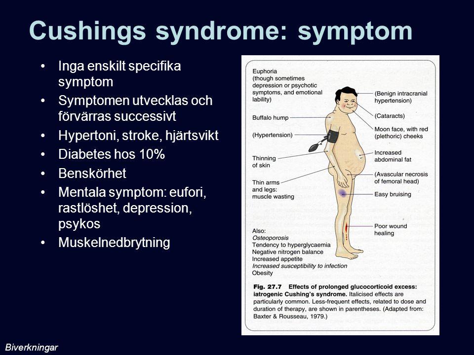Cushings syndrome: symptom Inga enskilt specifika symptom Symptomen utvecklas och förvärras successivt Hypertoni, stroke, hjärtsvikt Diabetes hos 10%