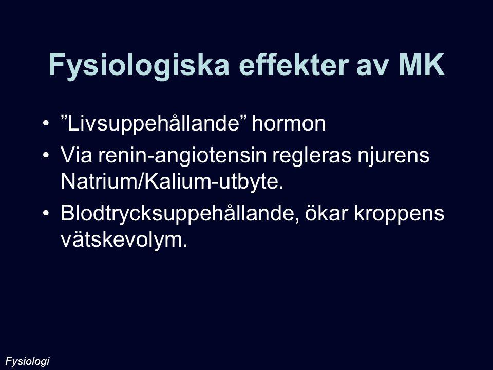 """Fysiologiska effekter av MK """"Livsuppehållande"""" hormon Via renin-angiotensin regleras njurens Natrium/Kalium-utbyte. Blodtrycksuppehållande, ökar kropp"""