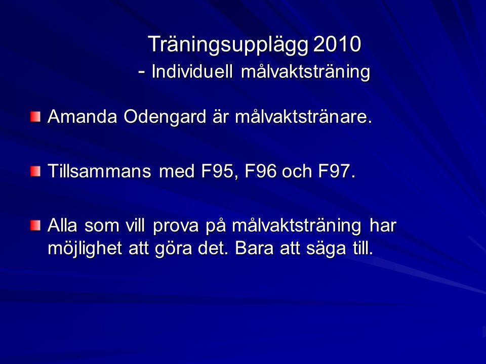 Träningsupplägg 2010 - Individuell målvaktsträning Amanda Odengard är målvaktstränare.