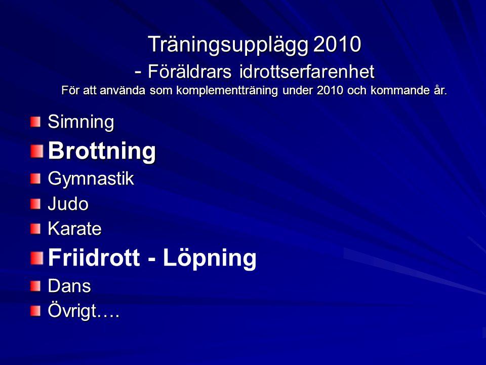 SimningBrottningGymnastikJudoKarate Friidrott - LöpningDansÖvrigt….