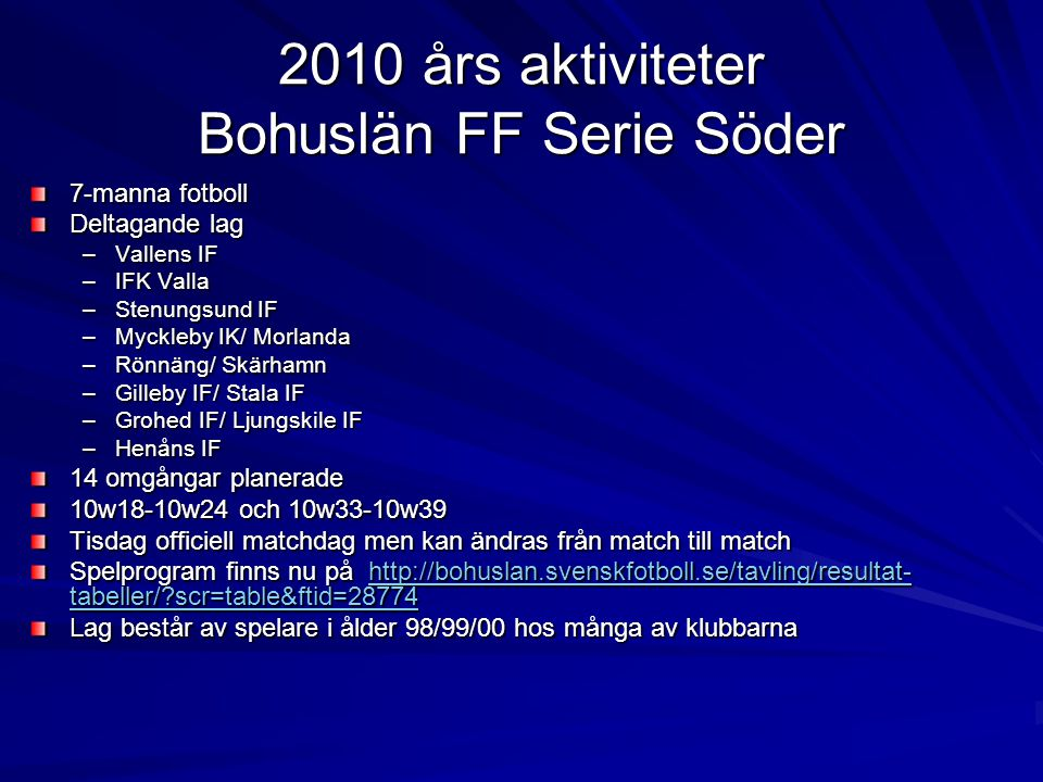 2010 års aktiviteter Bohuslän FF Serie Söder 7-manna fotboll Deltagande lag –Vallens IF –IFK Valla –Stenungsund IF –Myckleby IK/ Morlanda –Rönnäng/ Skärhamn –Gilleby IF/ Stala IF –Grohed IF/ Ljungskile IF –Henåns IF 14 omgångar planerade 10w18-10w24 och 10w33-10w39 Tisdag officiell matchdag men kan ändras från match till match Spelprogram finns nu på http://bohuslan.svenskfotboll.se/tavling/resultat- tabeller/ scr=table&ftid=28774 http://bohuslan.svenskfotboll.se/tavling/resultat- tabeller/ scr=table&ftid=28774http://bohuslan.svenskfotboll.se/tavling/resultat- tabeller/ scr=table&ftid=28774 Lag består av spelare i ålder 98/99/00 hos många av klubbarna