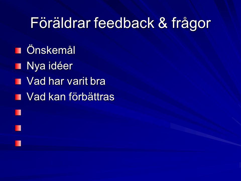 Föräldrar feedback & frågor Önskemål Önskemål Nya idéer Nya idéer Vad har varit bra Vad har varit bra Vad kan förbättras Vad kan förbättras