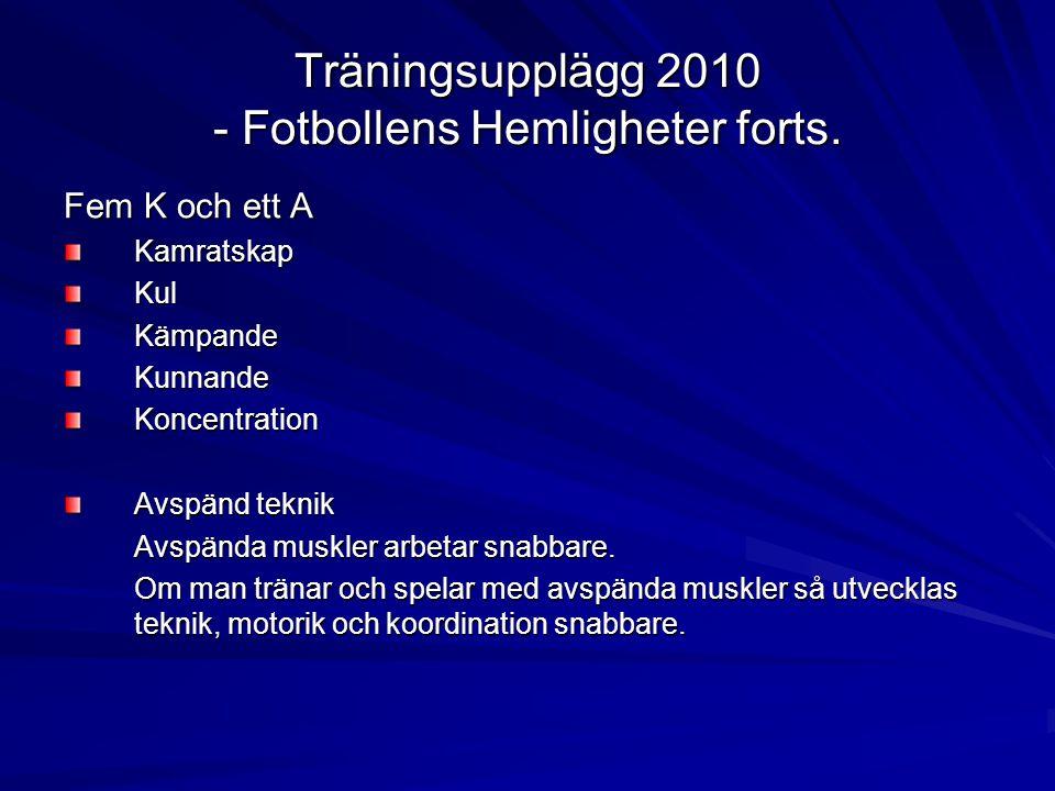 Träningsupplägg 2010 - Fotbollens Hemligheter forts.