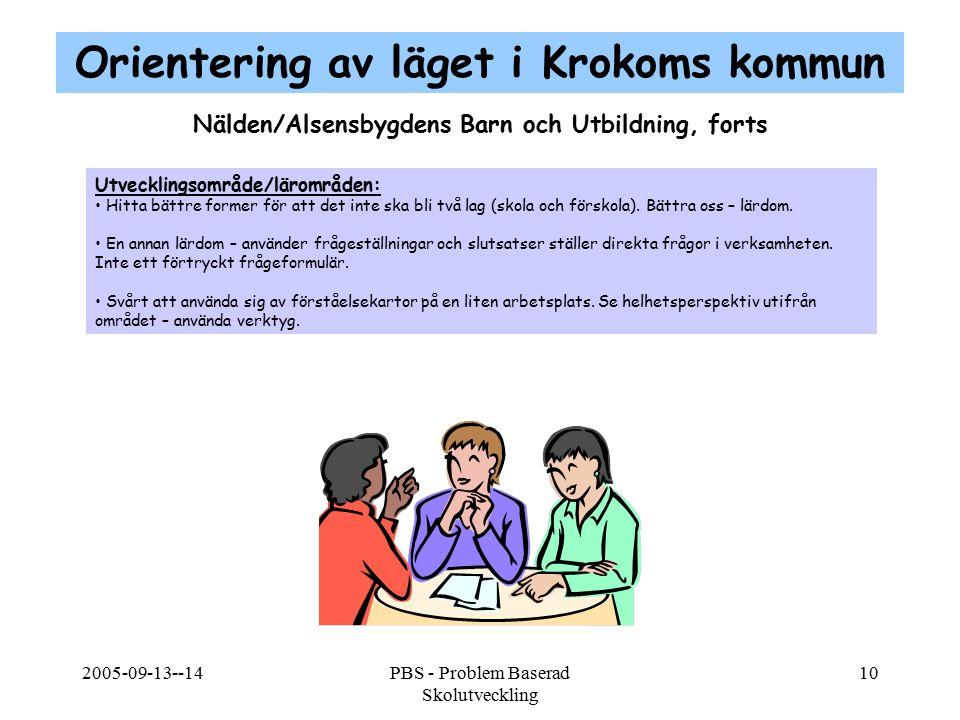 2005-09-13--14PBS - Problem Baserad Skolutveckling 10 Nälden/Alsensbygdens Barn och Utbildning, forts Utvecklingsområde/lärområden: Hitta bättre forme