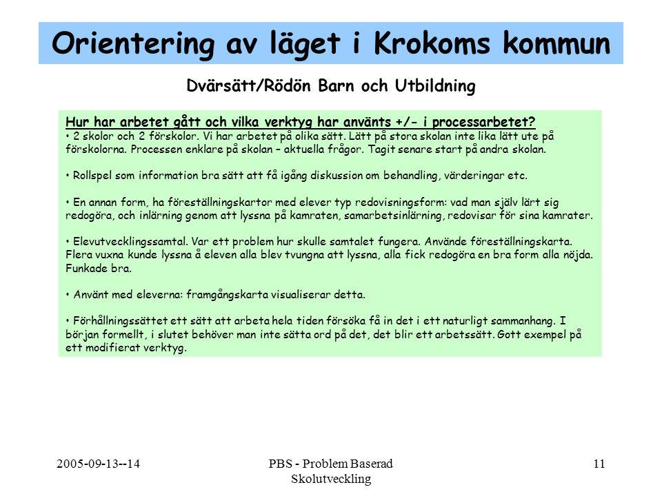 2005-09-13--14PBS - Problem Baserad Skolutveckling 11 Dvärsätt/Rödön Barn och Utbildning Hur har arbetet gått och vilka verktyg har använts +/- i proc