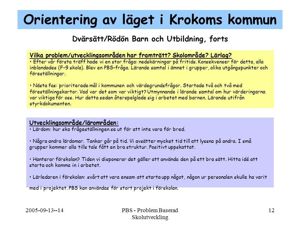 2005-09-13--14PBS - Problem Baserad Skolutveckling 12 Dvärsätt/Rödön Barn och Utbildning, forts Vilka problem/utvecklingsområden har framträtt? Skolom