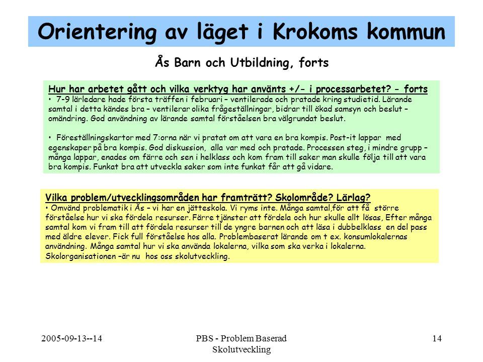 2005-09-13--14PBS - Problem Baserad Skolutveckling 14 Hur har arbetet gått och vilka verktyg har använts +/- i processarbetet? - forts 7-9 lärledare h