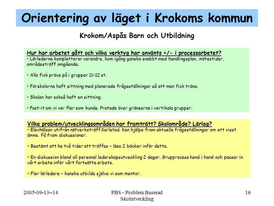 2005-09-13--14PBS - Problem Baserad Skolutveckling 16 Krokom/Aspås Barn och Utbildning Hur har arbetet gått och vilka verktyg har använts +/- i proces