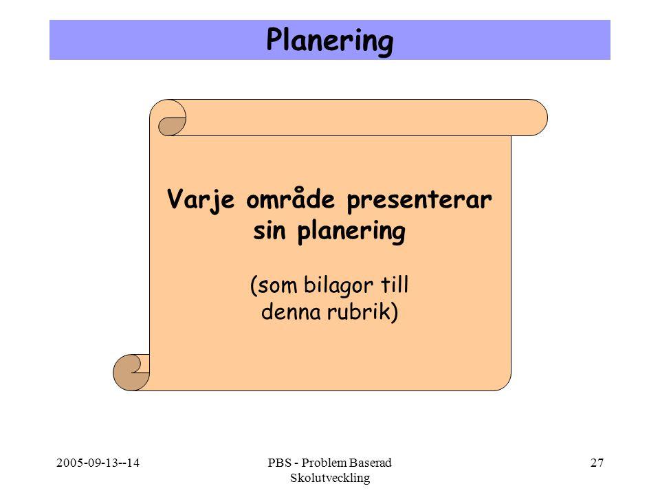 2005-09-13--14PBS - Problem Baserad Skolutveckling 27 Planering Varje område presenterar sin planering (som bilagor till denna rubrik)