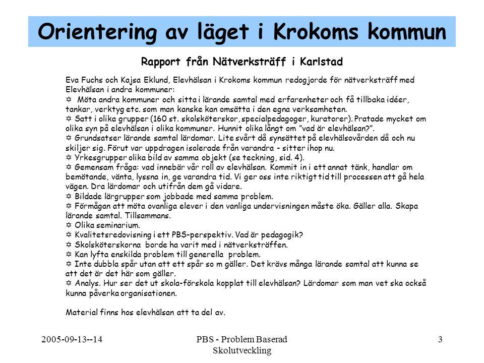 2005-09-13--14PBS - Problem Baserad Skolutveckling 3 Rapport från Nätverksträff i Karlstad Eva Fuchs och Kajsa Eklund, Elevhälsan i Krokoms kommun red