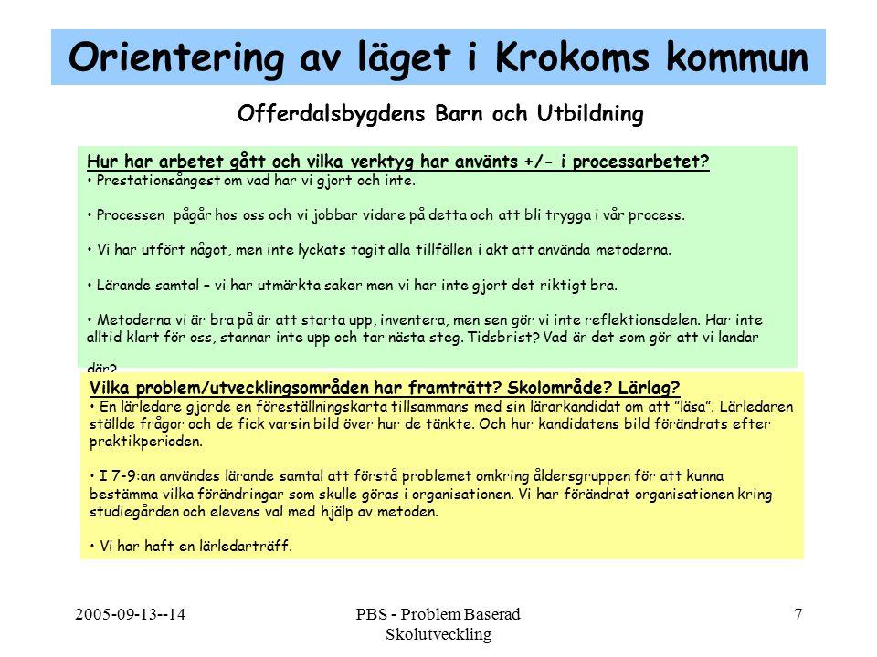 2005-09-13--14PBS - Problem Baserad Skolutveckling 7 Offerdalsbygdens Barn och Utbildning Hur har arbetet gått och vilka verktyg har använts +/- i pro