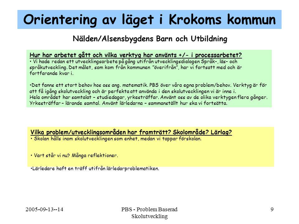 2005-09-13--14PBS - Problem Baserad Skolutveckling 9 Nälden/Alsensbygdens Barn och Utbildning Hur har arbetet gått och vilka verktyg har använts +/- i