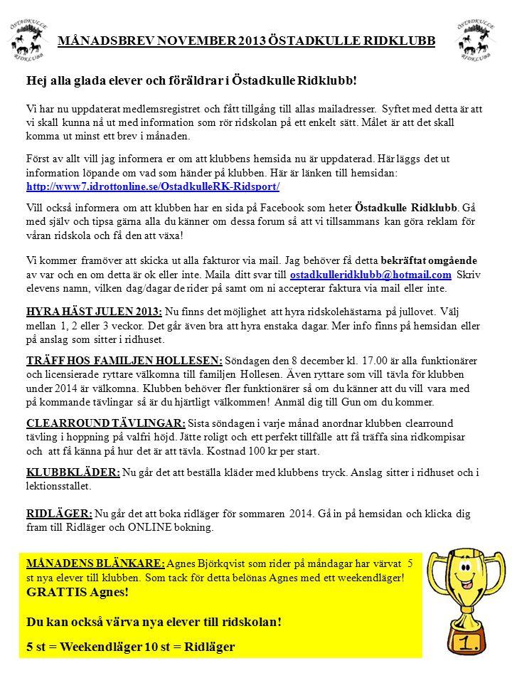 Hej alla glada elever och föräldrar i Östadkulle Ridklubb.