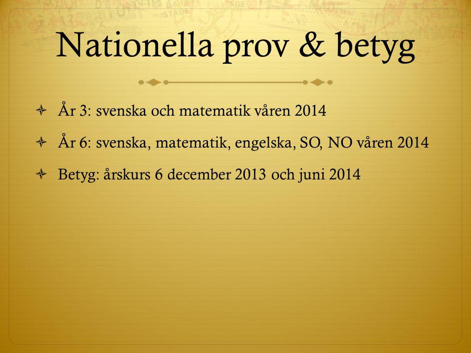 Nationella prov & betyg  År 3: svenska och matematik våren 2014  År 6: svenska, matematik, engelska, SO, NO våren 2014  Betyg: årskurs 6 december 2