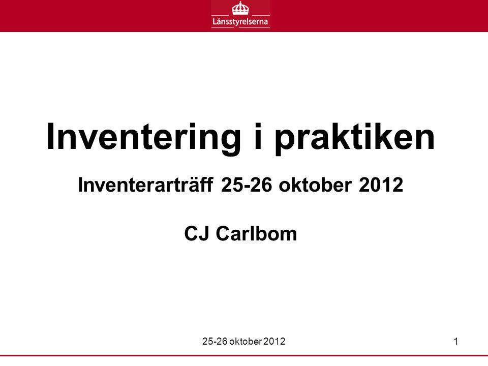 Inventering i praktiken Inventerarträff 25-26 oktober 2012 CJ Carlbom 25-26 oktober 20121