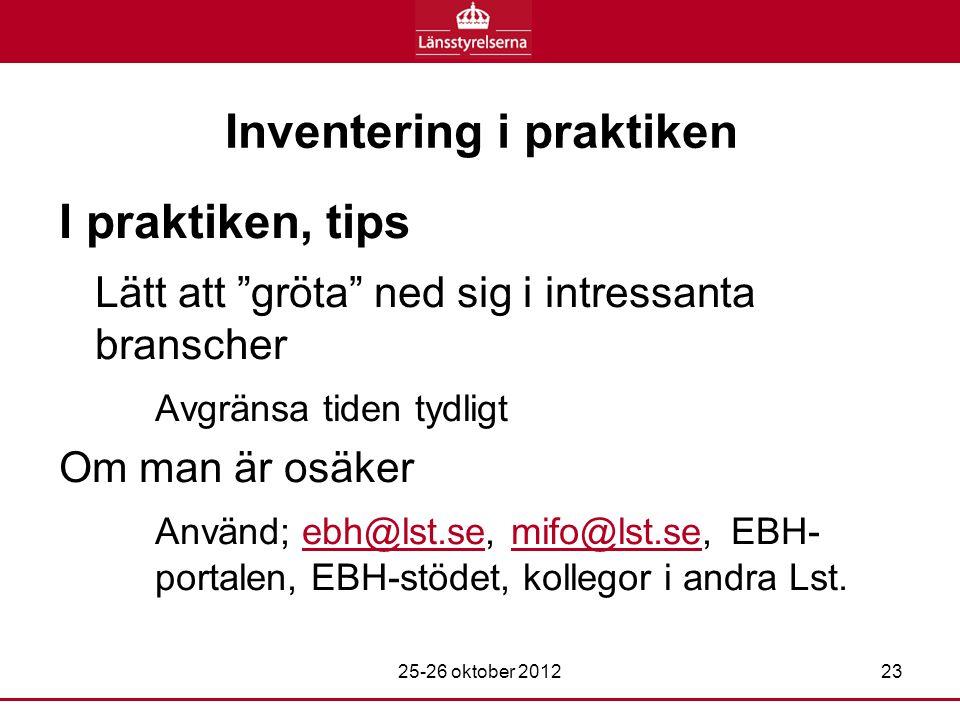 Inventering i praktiken I praktiken, tips Lätt att gröta ned sig i intressanta branscher Avgränsa tiden tydligt Om man är osäker Använd; ebh@lst.se, mifo@lst.se, EBH- portalen, EBH-stödet, kollegor i andra Lst.ebh@lst.semifo@lst.se 25-26 oktober 201223