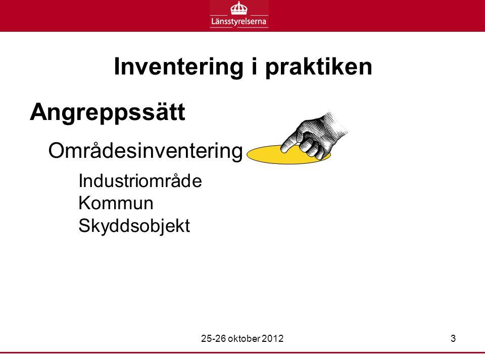 Inventering i praktiken Angreppssätt Områdesinventering Industriområde Kommun Skyddsobjekt 25-26 oktober 20123