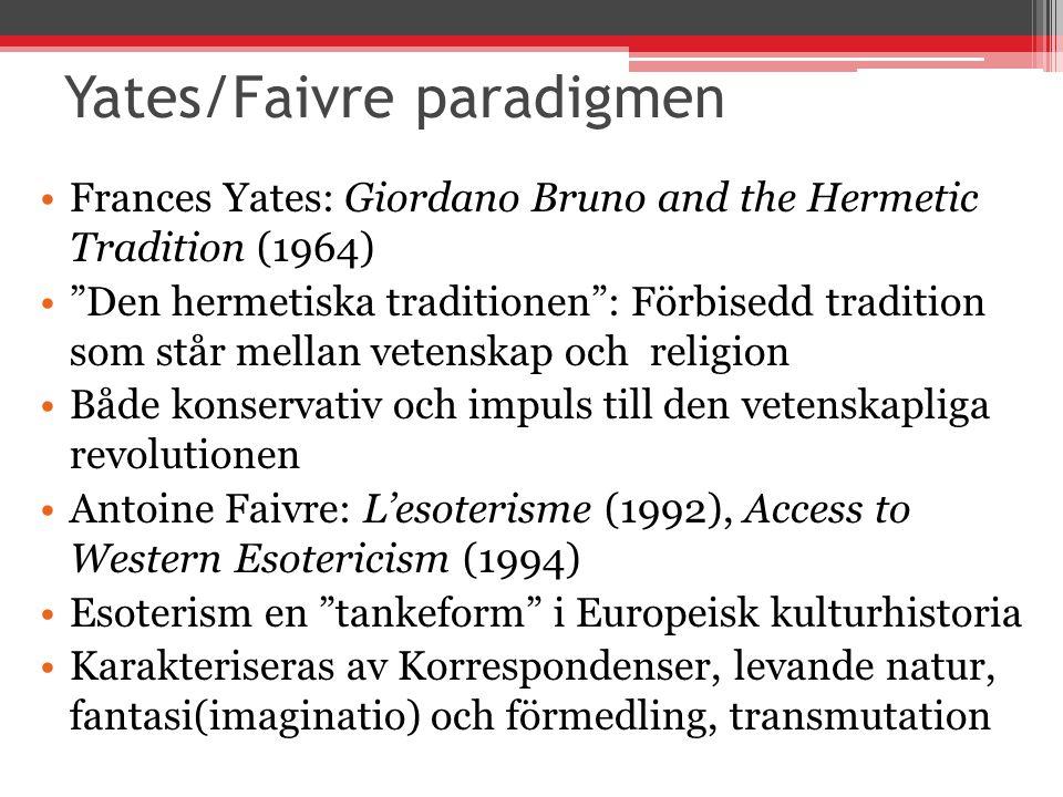 Yates/Faivre paradigmen Frances Yates: Giordano Bruno and the Hermetic Tradition (1964) Den hermetiska traditionen : Förbisedd tradition som står mellan vetenskap och religion Både konservativ och impuls till den vetenskapliga revolutionen Antoine Faivre: L'esoterisme (1992), Access to Western Esotericism (1994) Esoterism en tankeform i Europeisk kulturhistoria Karakteriseras av Korrespondenser, levande natur, fantasi(imaginatio) och förmedling, transmutation