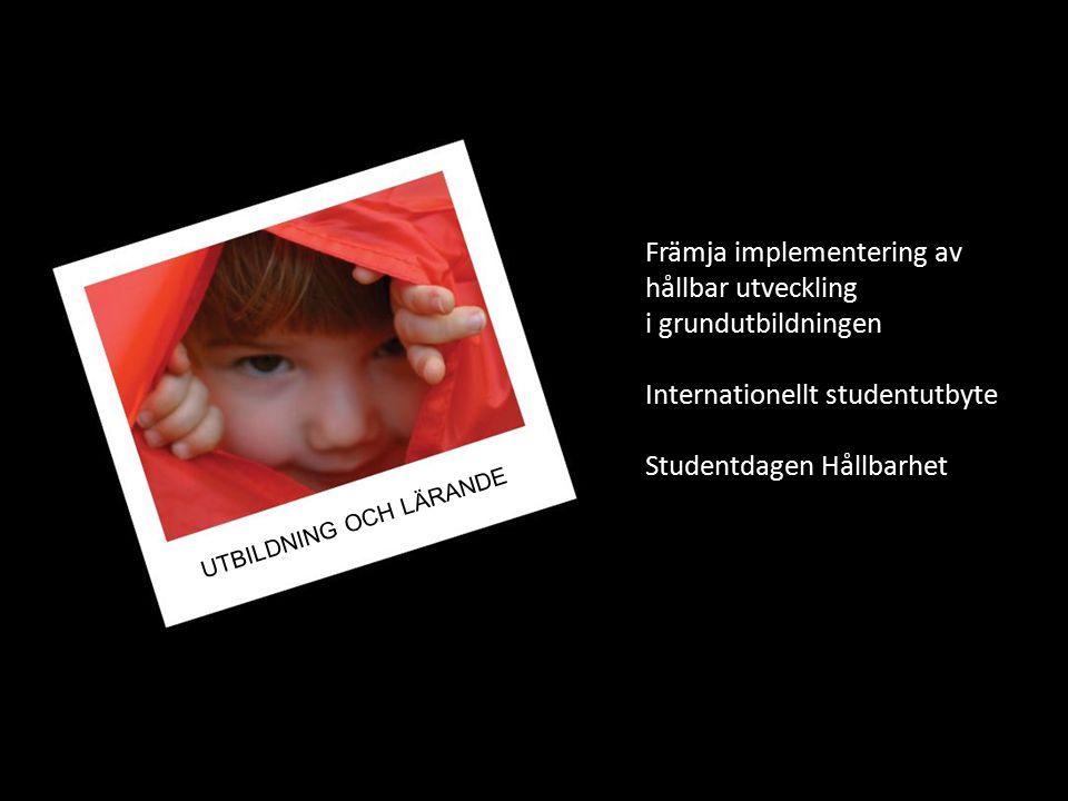 Främja implementering av hållbar utveckling i grundutbildningen Internationellt studentutbyte Studentdagen Hållbarhet UTBILDNING OCH LÄRANDE