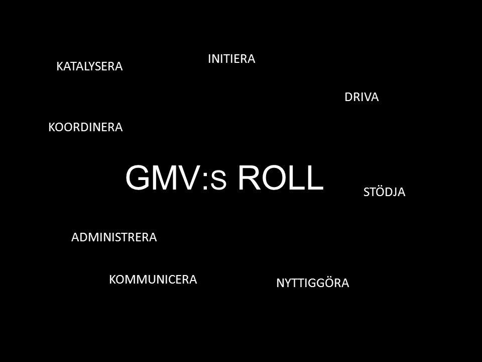 GMV : S ROLL KOORDINERA NYTTIGGÖRA INITIERA KATALYSERA ADMINISTRERA STÖDJA KOMMUNICERA DRIVA