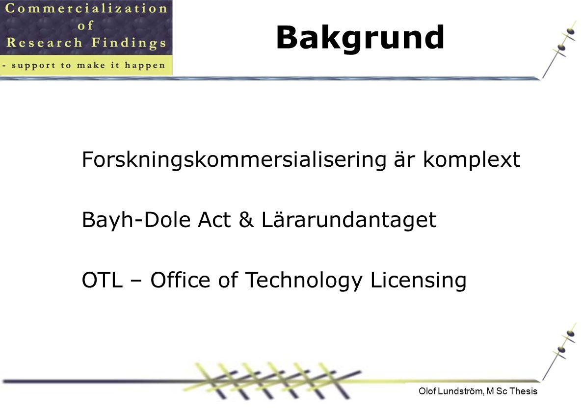 Bakgrund Forskningskommersialisering är komplext Bayh-Dole Act & Lärarundantaget OTL – Office of Technology Licensing