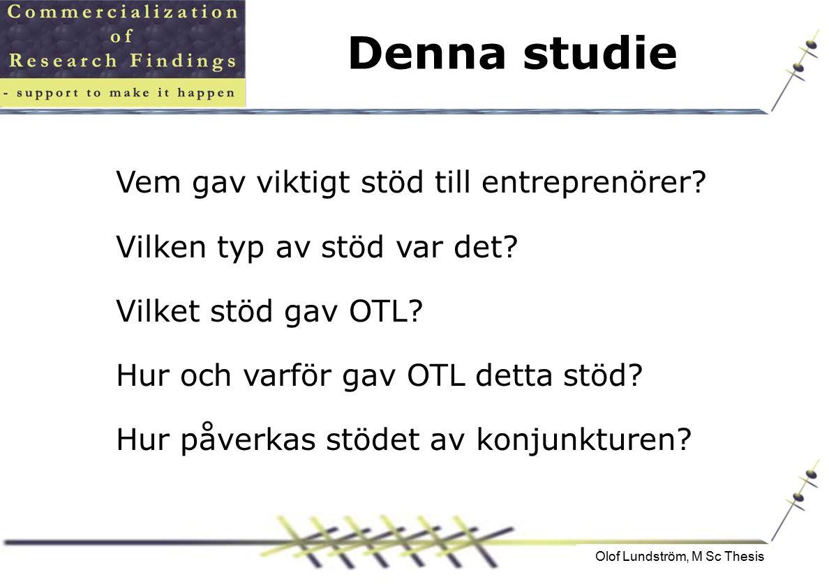 Olof Lundström, M Sc Thesis Vem gav viktigt stöd till entreprenörer.