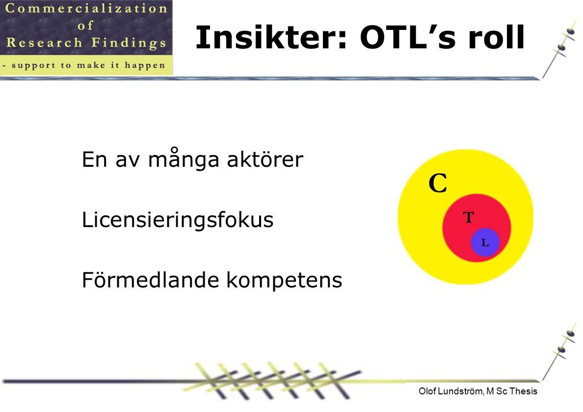 Olof Lundström, M Sc Thesis Insikter: OTL's roll En av många aktörer Licensieringsfokus Förmedlande kompetens