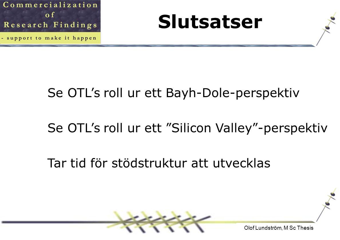 Olof Lundström, M Sc Thesis Slutsatser Se OTL's roll ur ett Bayh-Dole-perspektiv Se OTL's roll ur ett Silicon Valley -perspektiv Tar tid för stödstruktur att utvecklas