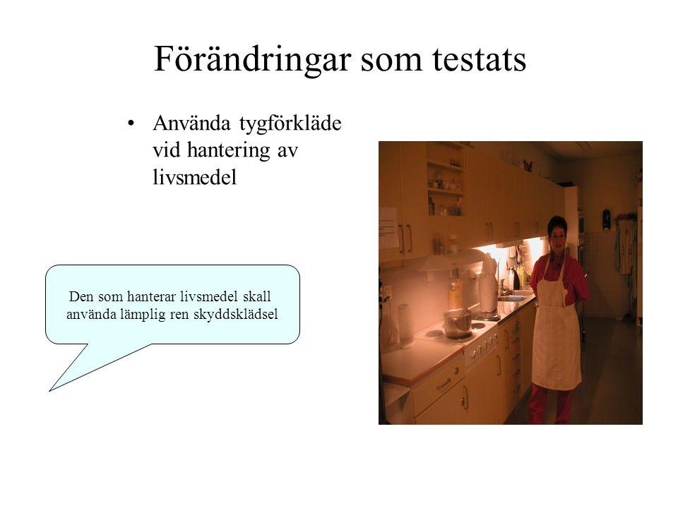 Förändringar som testats Använda tygförkläde vid hantering av livsmedel Den som hanterar livsmedel skall använda lämplig ren skyddsklädsel