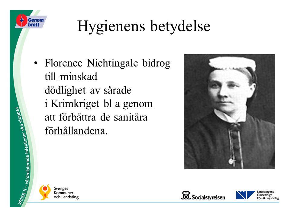 Hygienens betydelse Florence Nichtingale bidrog till minskad dödlighet av sårade i Krimkriget bl a genom att förbättra de sanitära förhållandena.