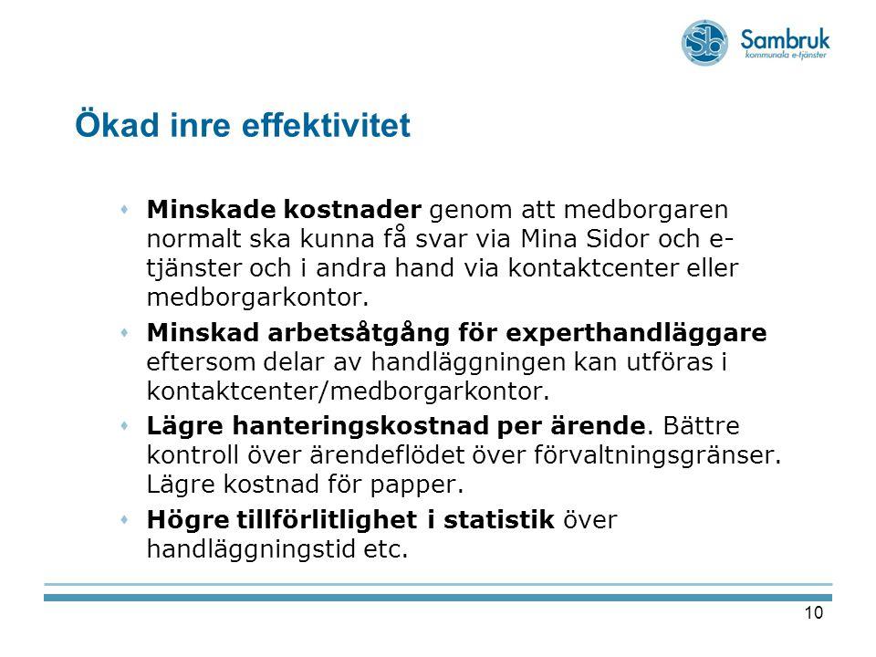 10 Ökad inre effektivitet  Minskade kostnader genom att medborgaren normalt ska kunna få svar via Mina Sidor och e- tjänster och i andra hand via kon