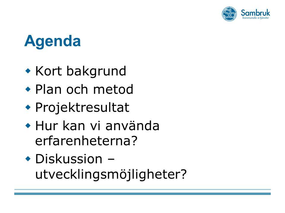 Agenda  Kort bakgrund  Plan och metod  Projektresultat  Hur kan vi använda erfarenheterna?  Diskussion – utvecklingsmöjligheter?