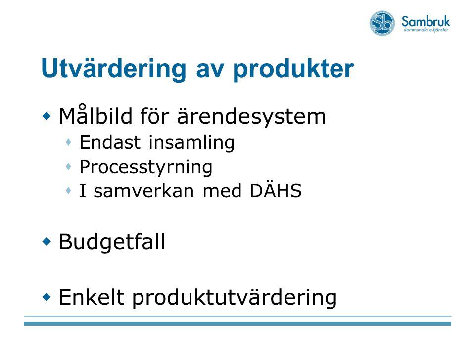 Utvärdering av produkter  Målbild för ärendesystem  Endast insamling  Processtyrning  I samverkan med DÄHS  Budgetfall  Enkelt produktutvärderin
