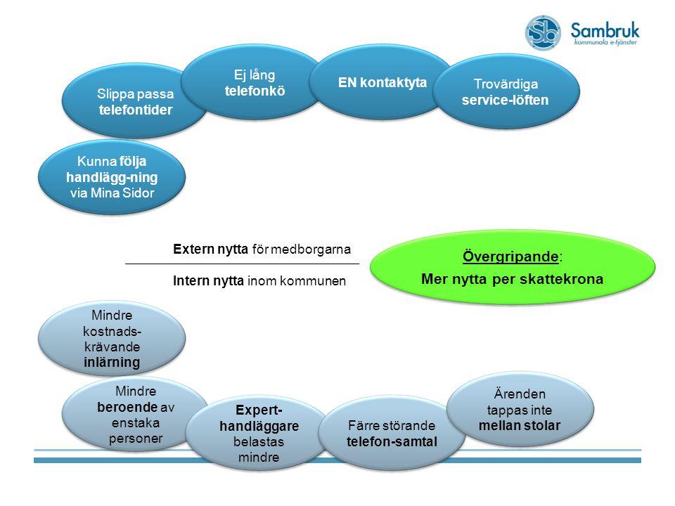 9 Ökad medborgarnytta/ökad servicegrad  Ökad andel ärenden via e-tjänster där e- tjänsterna blir sammanhållna och konsekventa.