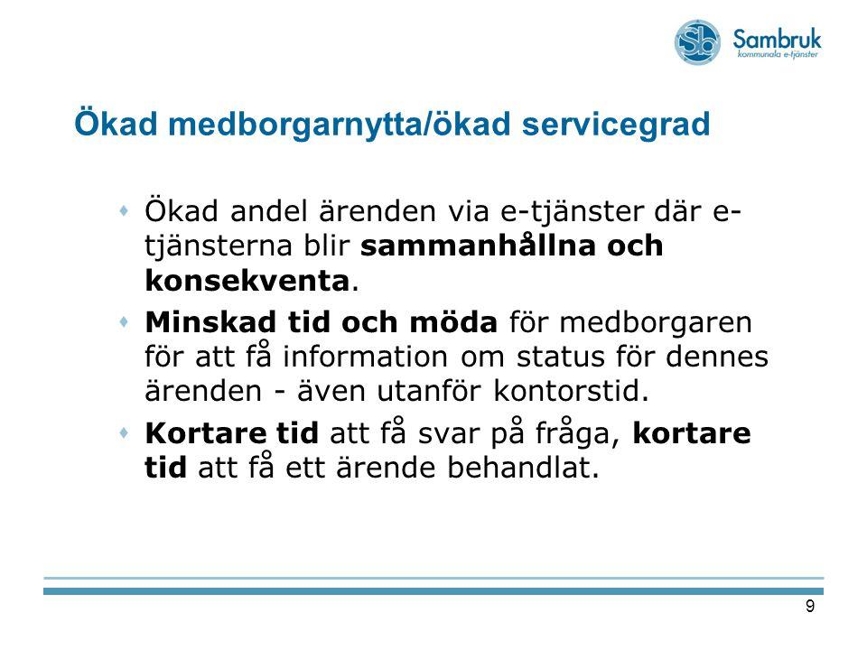 9 Ökad medborgarnytta/ökad servicegrad  Ökad andel ärenden via e-tjänster där e- tjänsterna blir sammanhållna och konsekventa.  Minskad tid och möda