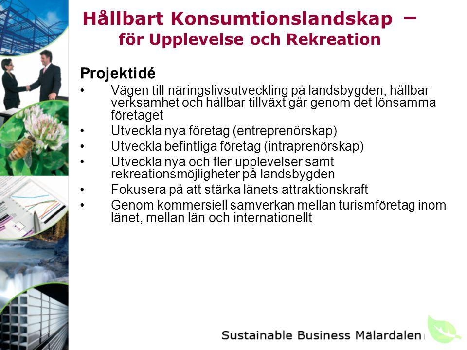 Hållbart Konsumtionslandskap – för Upplevelse och Rekreation Projektidé Vägen till näringslivsutveckling på landsbygden, hållbar verksamhet och hållbar tillväxt går genom det lönsamma företaget Utveckla nya företag (entreprenörskap) Utveckla befintliga företag (intraprenörskap) Utveckla nya och fler upplevelser samt rekreationsmöjligheter på landsbygden Fokusera på att stärka länets attraktionskraft Genom kommersiell samverkan mellan turismföretag inom länet, mellan län och internationellt