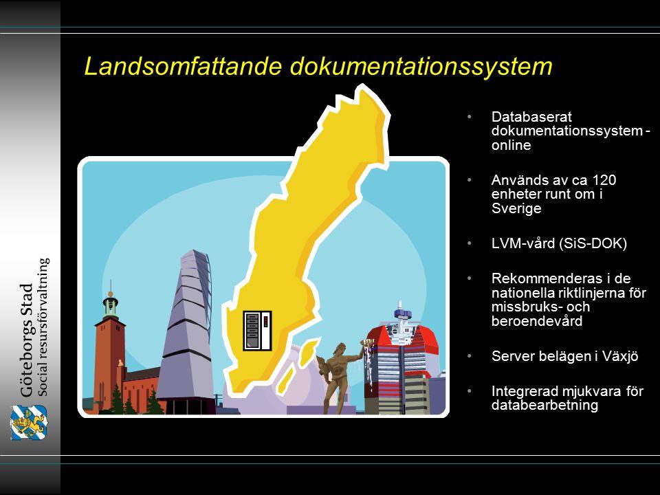 Landsomfattande dokumentationssystem Databaserat dokumentationssystem - online Används av ca 120 enheter runt om i Sverige LVM-vård (SiS-DOK) Rekommenderas i de nationella riktlinjerna för missbruks- och beroendevård Server belägen i Växjö Integrerad mjukvara för databearbetning