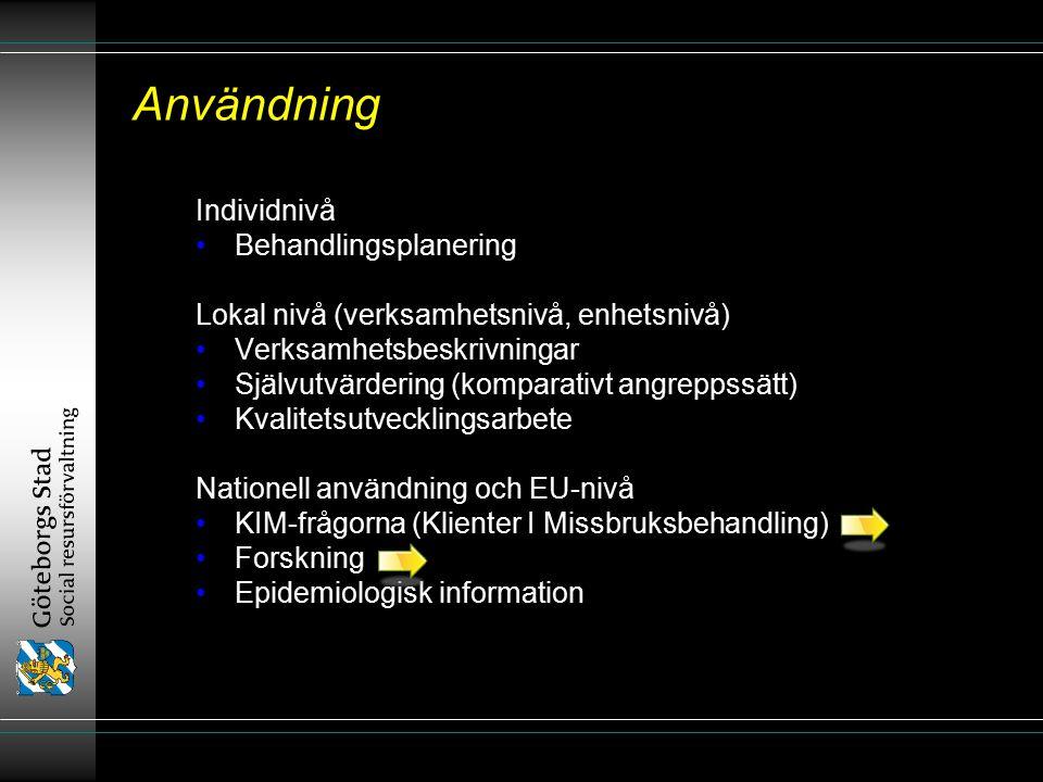 Användning Individnivå Behandlingsplanering Lokal nivå (verksamhetsnivå, enhetsnivå) Verksamhetsbeskrivningar Självutvärdering (komparativt angreppssätt) Kvalitetsutvecklingsarbete Nationell användning och EU-nivå KIM-frågorna (Klienter I Missbruksbehandling) Forskning Epidemiologisk information Individnivå Behandlingsplanering Lokal nivå (verksamhetsnivå, enhetsnivå) Verksamhetsbeskrivningar Självutvärdering (komparativt angreppssätt) Kvalitetsutvecklingsarbete Nationell användning och EU-nivå KIM-frågorna (Klienter I Missbruksbehandling) Forskning Epidemiologisk information