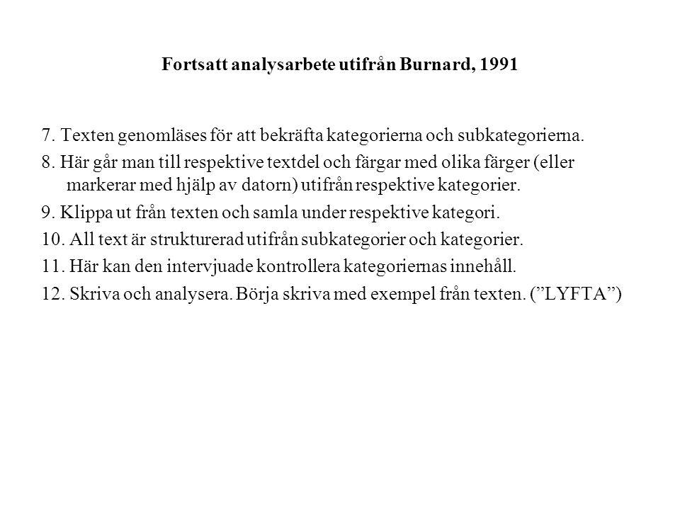 Fortsatt analysarbete utifrån Burnard, 1991 7.