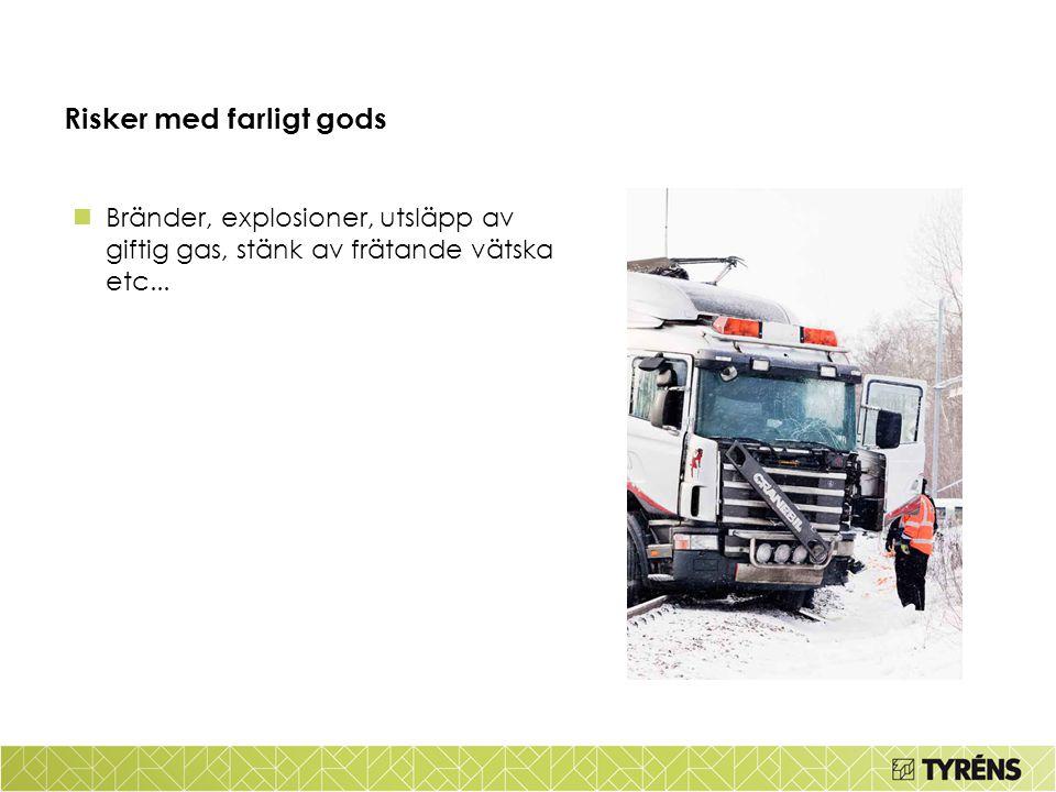 Risker med farligt gods Bränder, explosioner, utsläpp av giftig gas, stänk av frätande vätska etc...