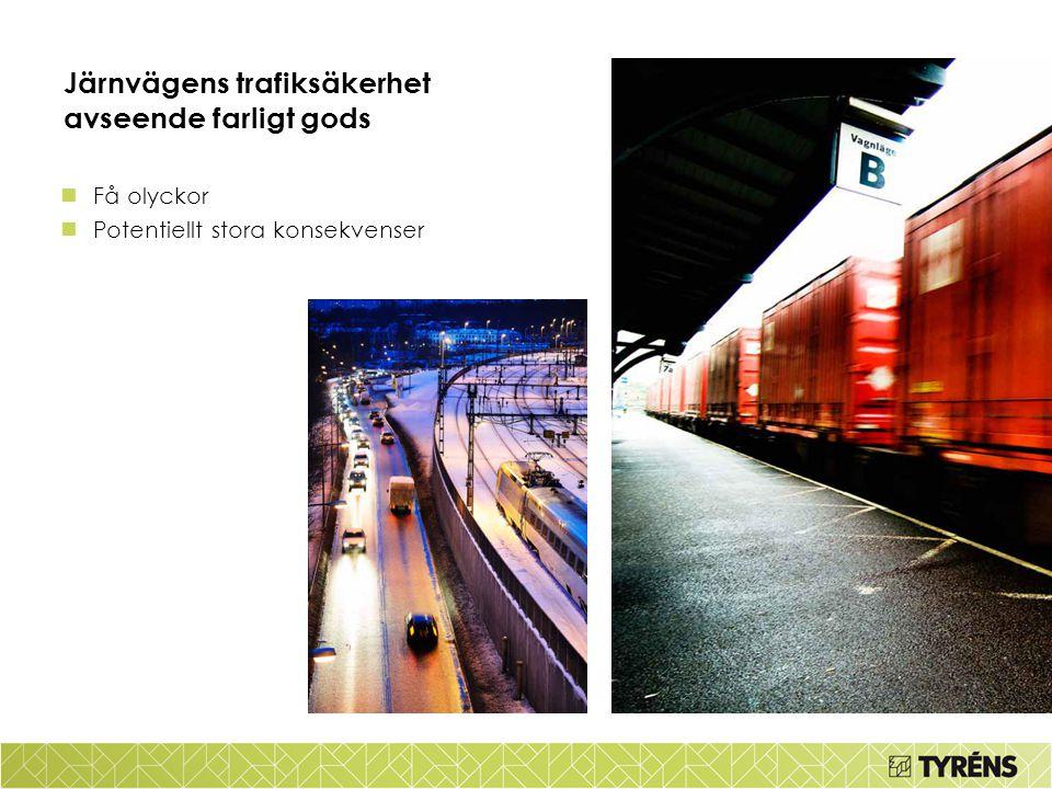 Järnvägens trafiksäkerhet avseende farligt gods Få olyckor Potentiellt stora konsekvenser