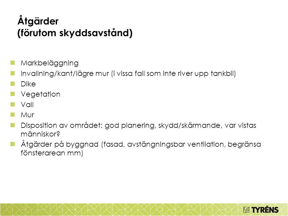 Åtgärder (förutom skyddsavstånd) Markbeläggning Invallning/kant/lägre mur (i vissa fall som inte river upp tankbil) Dike Vegetation Vall Mur Dispositi