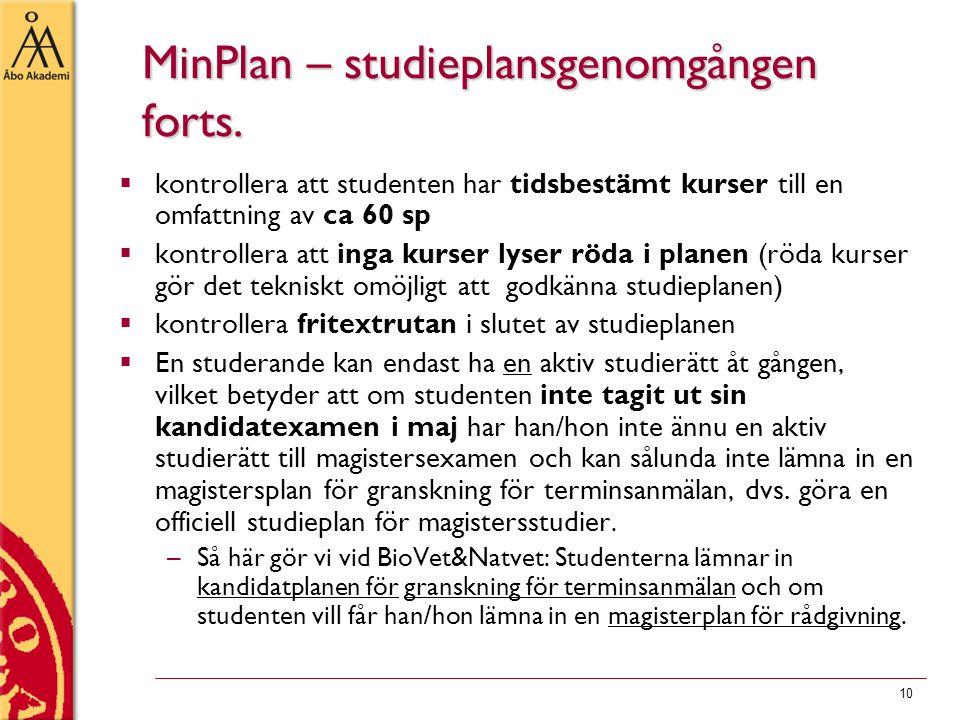 10 MinPlan – studieplansgenomgången forts.