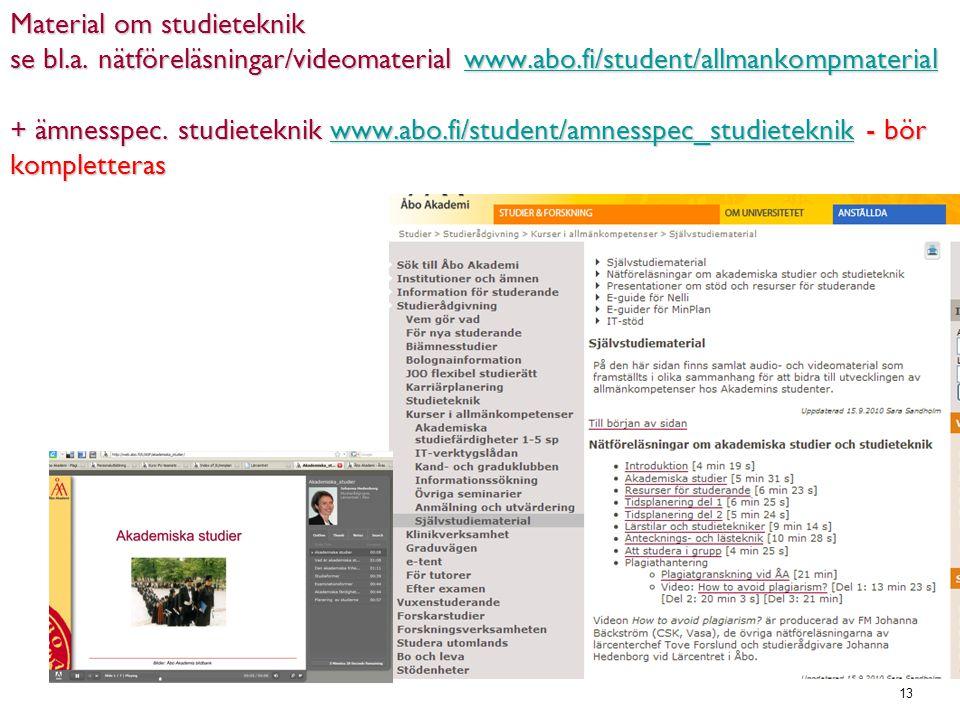13 Material om studieteknik se bl.a.