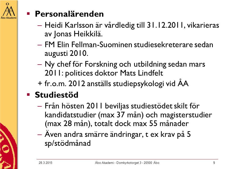 5 28.3.2015Åbo Akademi - Domkyrkotorget 3 - 20500 Åbo5  Personalärenden –Heidi Karlsson är vårdledig till 31.12.2011, vikarieras av Jonas Heikkilä.
